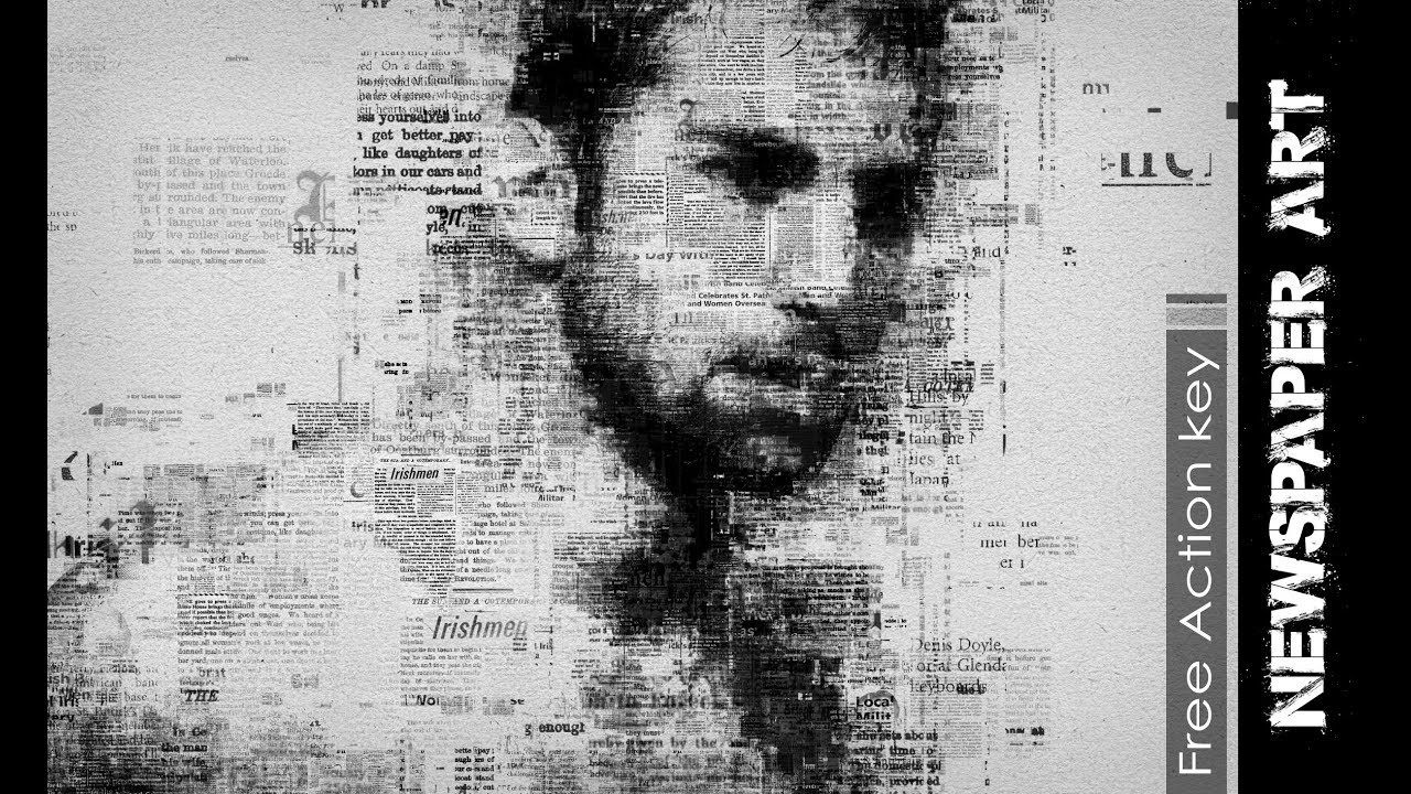 Newspaper Art Photoshop Effect Full Tutorial (download action free