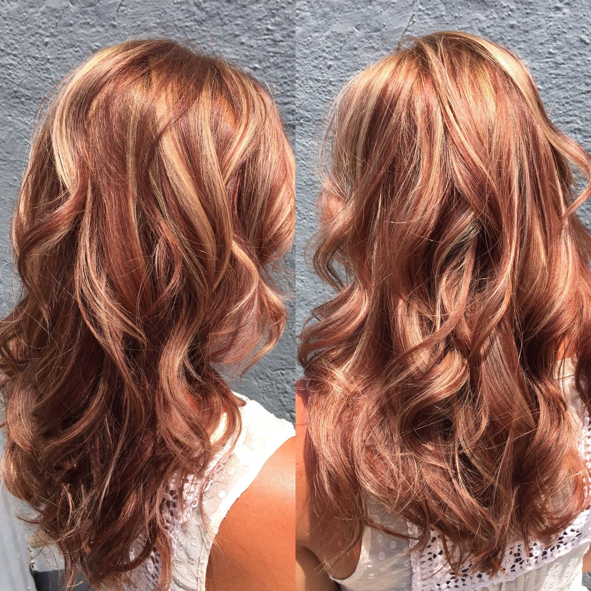 hair hilite-lowlite-auburn-red-blonde-waves-long
