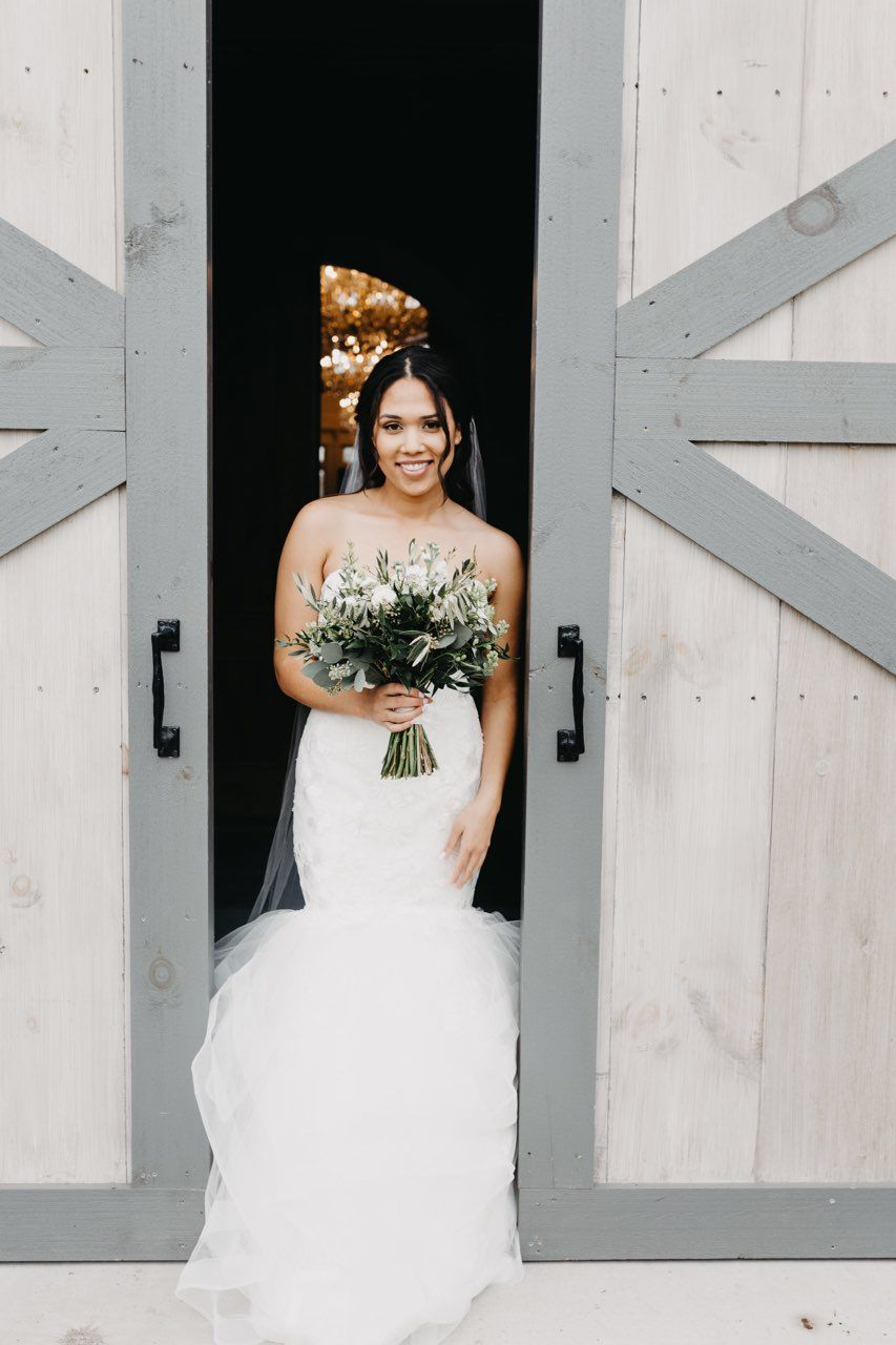 Bride In Mermaid Wedding Dress On Wedding Day Holding Beautiful Green Florals Long Train Wedding Dress Wedding Dresses Designer Wedding Dresses [ 1280 x 853 Pixel ]