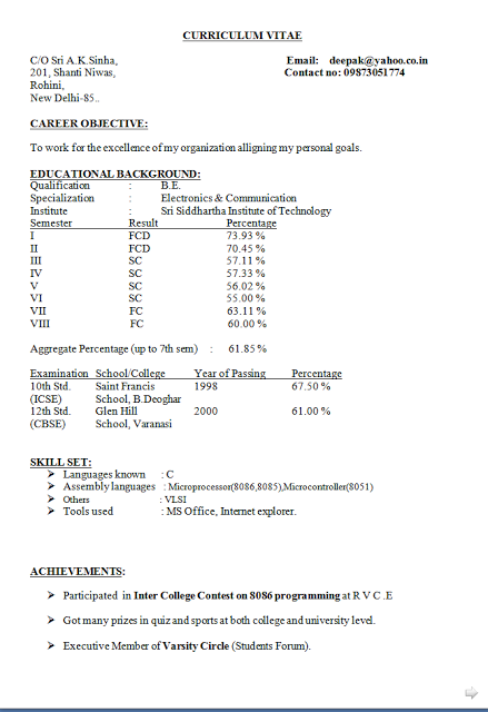 curriculum vitae advice free download Sample Template Excellent ...