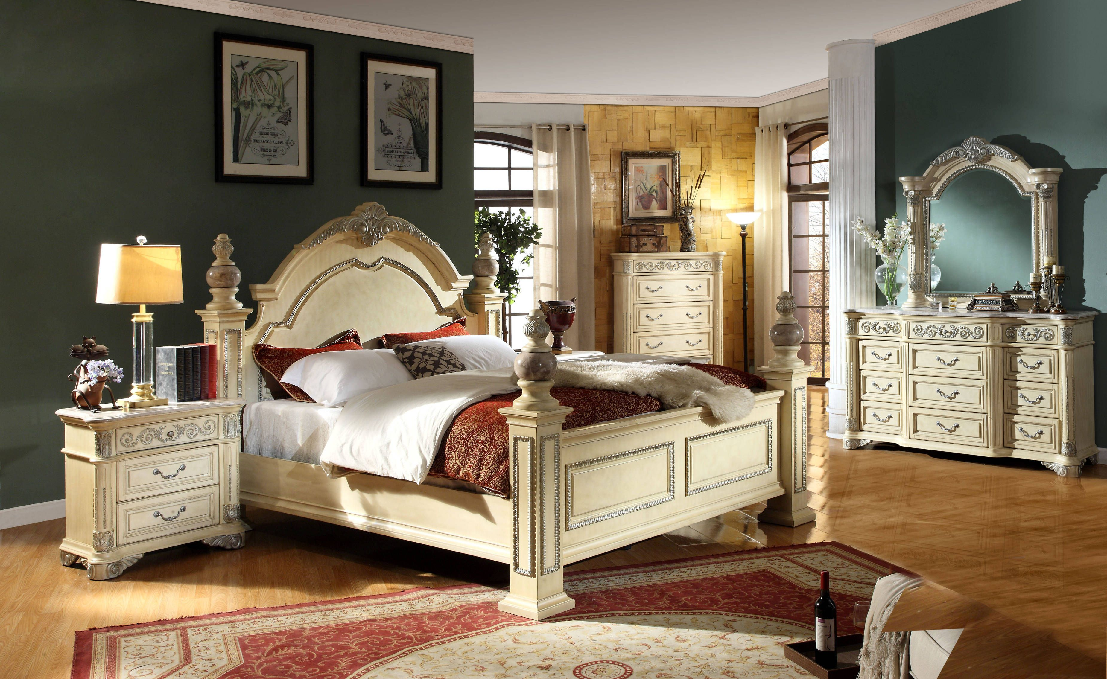 Sienna Antique White Solid Wood Master Bedroom Set Master Bedroom Set King Bedroom Sets Bedroom Panel