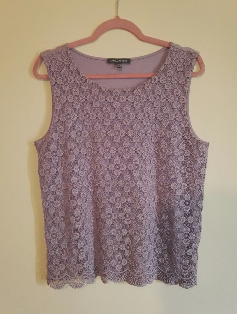 62bf5f7a54812 Laura Ashley Ladies Floral Lace Overlay Slveeveless Vest Top Purple Size 14   fashion  clothing  shoes  accessories  womensclothing  tops (ebay link)