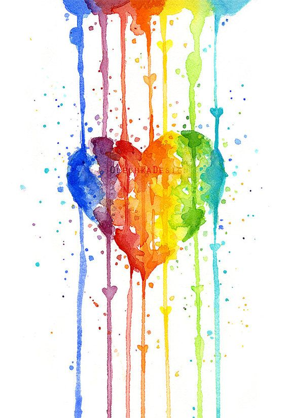 Rainbow Watercolor Heart Art Print Colorful Giclee Decor