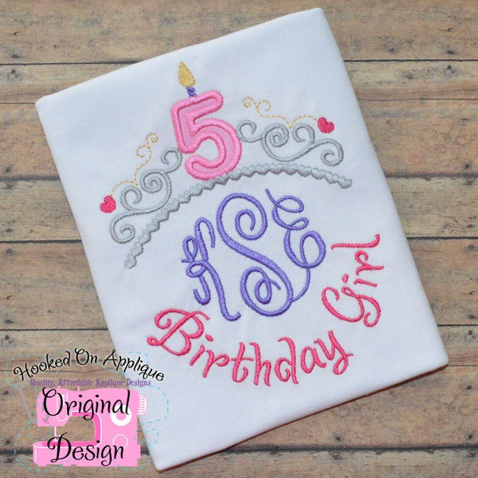 Princess Birthday Shirt with Crown/Tiara, Birth Number and