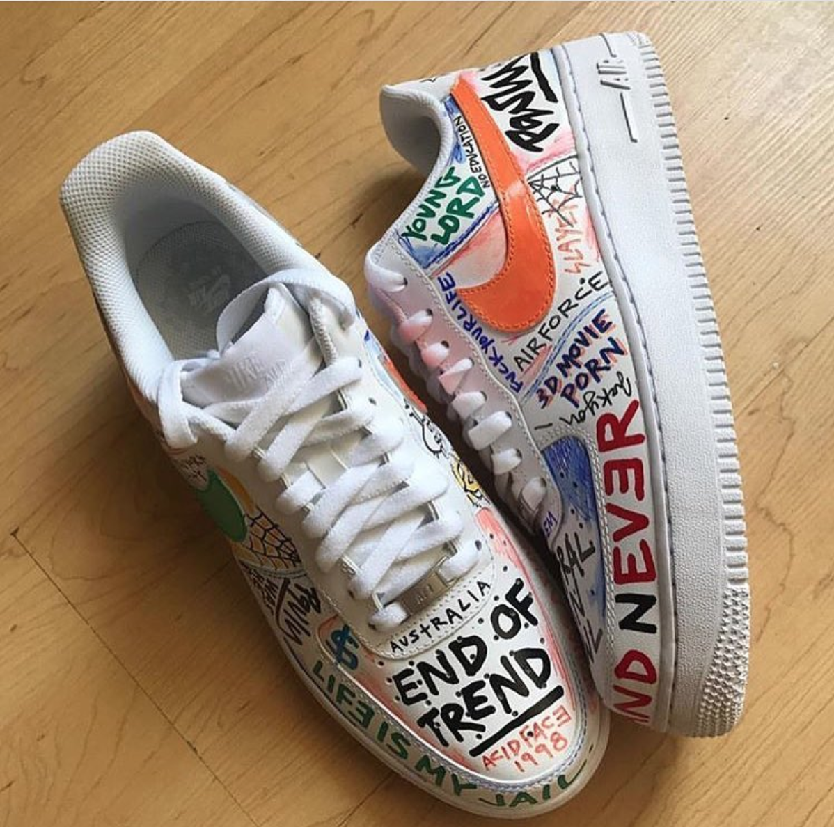 a$apvlone air force 1 custom inspo in 2019 | Nike shoes