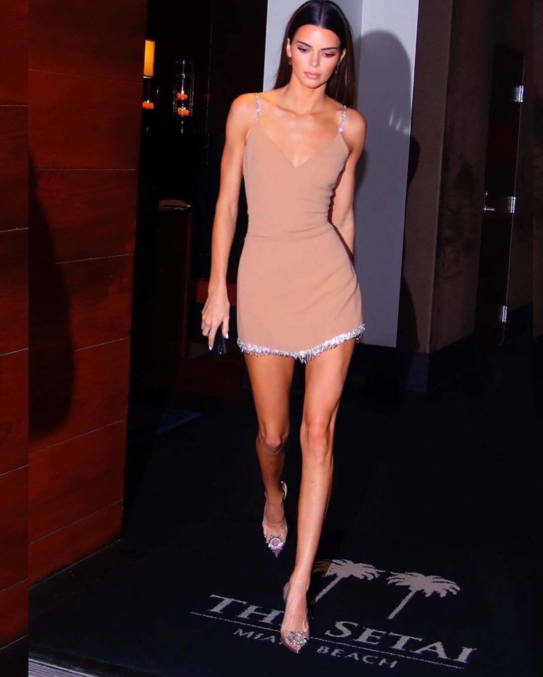 Kendall Jenner wears nude minidress in Miami, Florida