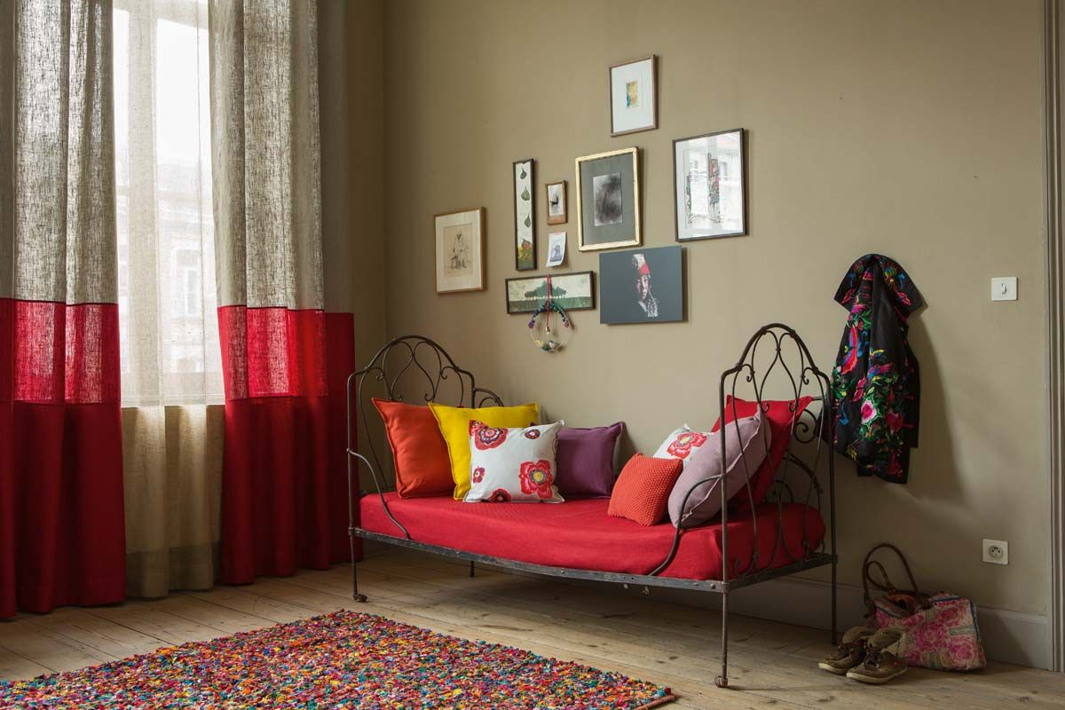 rideaux en confection trio de tissus rafael carmin lin. Black Bedroom Furniture Sets. Home Design Ideas