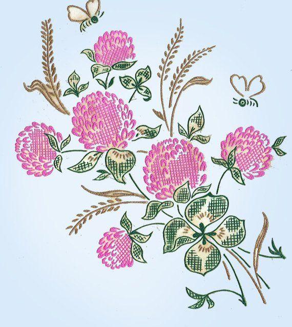 1950s Vintage Vogart Textilprint 438 Uncut Floral NO Sew Color Transfer