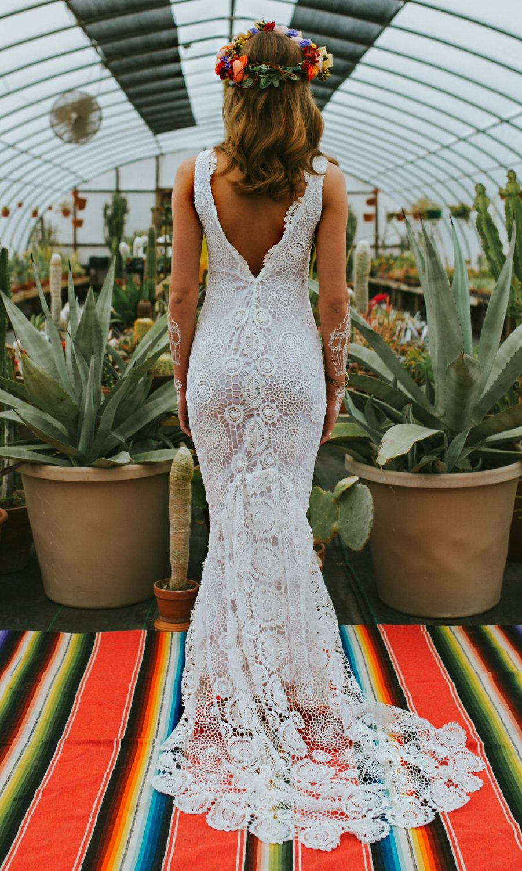 Crochet wedding dress boho wedding dress crochet lace wedding