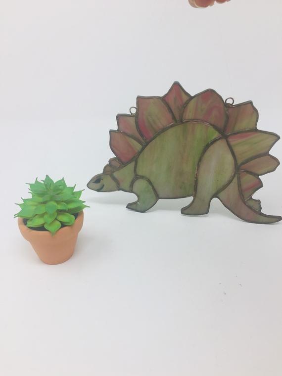 Vintage Triceratops Dinosaur Stained Glass Sun Catcher, Dinosaur Green Triceratops Stained Glass Sun #dinosaurpics