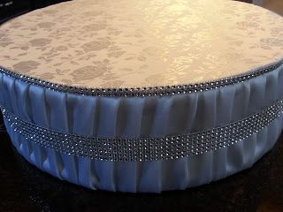 Handmade wedding cake stand!  Love this, looks beautiful!  #wedding #cake stands #fabric cake stand