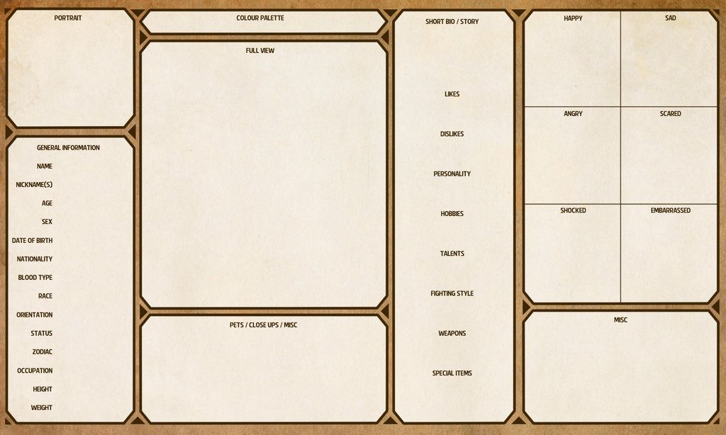 Character Design Sheet Template : Character sheet template by yenke resource tool how to