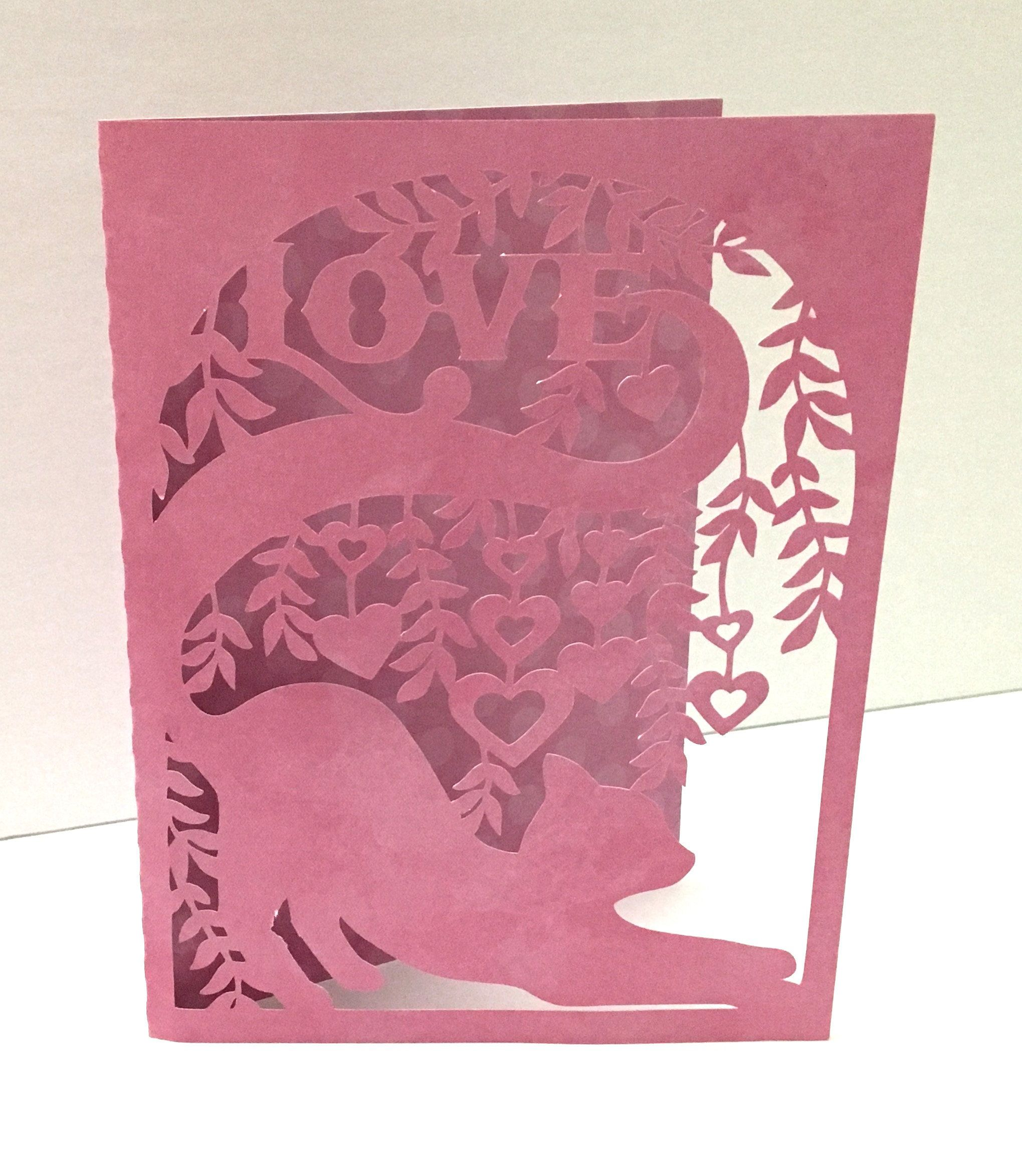 stretching cat love card  blank inside  papercut