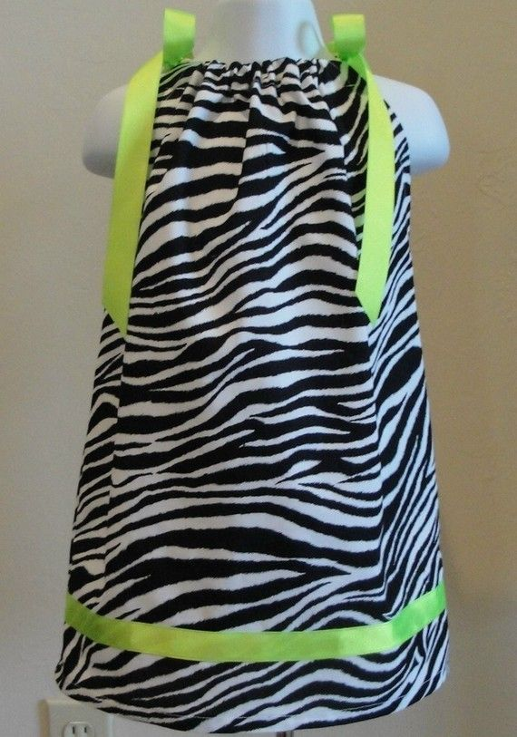 Items similar to Zebra Print Pillowcase Dress with Lime Green Trim 3 6 9 12 18 month 5 6 on Etsy & Lime Green Zebra Print Dresses | Zebra Print Pillowcase Dress with ... pillowsntoast.com
