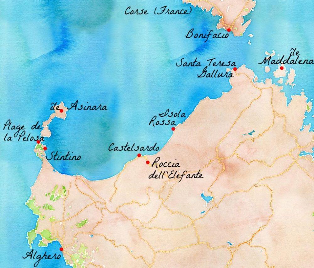 Carte Italie Et Sardaigne.Idee Pour Un Circuit Au Nord Ouest De La Sardaigne Sardaigne