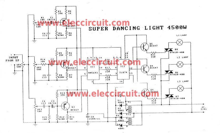 Music Dancing Light Circuit4500 Watt Using Opto Isolator Circuits