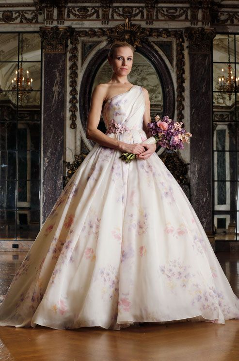 Stunning one-shoulder floral print ball gown wedding dress from Spring 2016 Romona Keveza Luxe Bridal Collection.