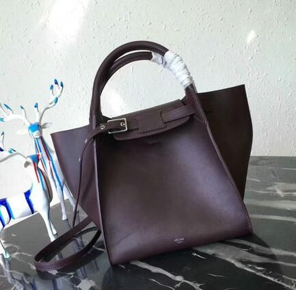 2018 Celine Spring Summer Medium Bag In Burgundy Smooth Calfskin Leather