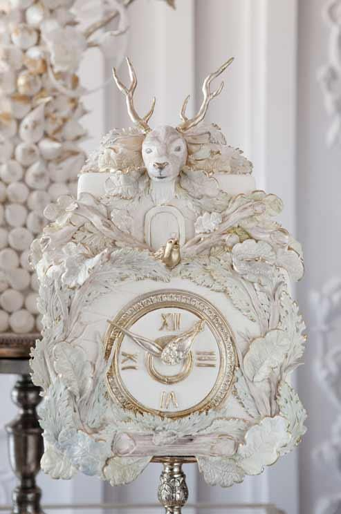 Colin Cowie Weddings Can you believe this clock is actually an elaborate cake?