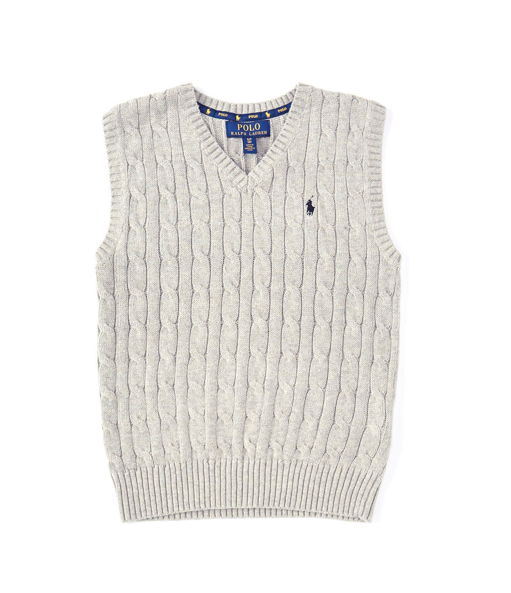 RALPH LAUREN Polo Boys V-Neck Cable Knit Vest