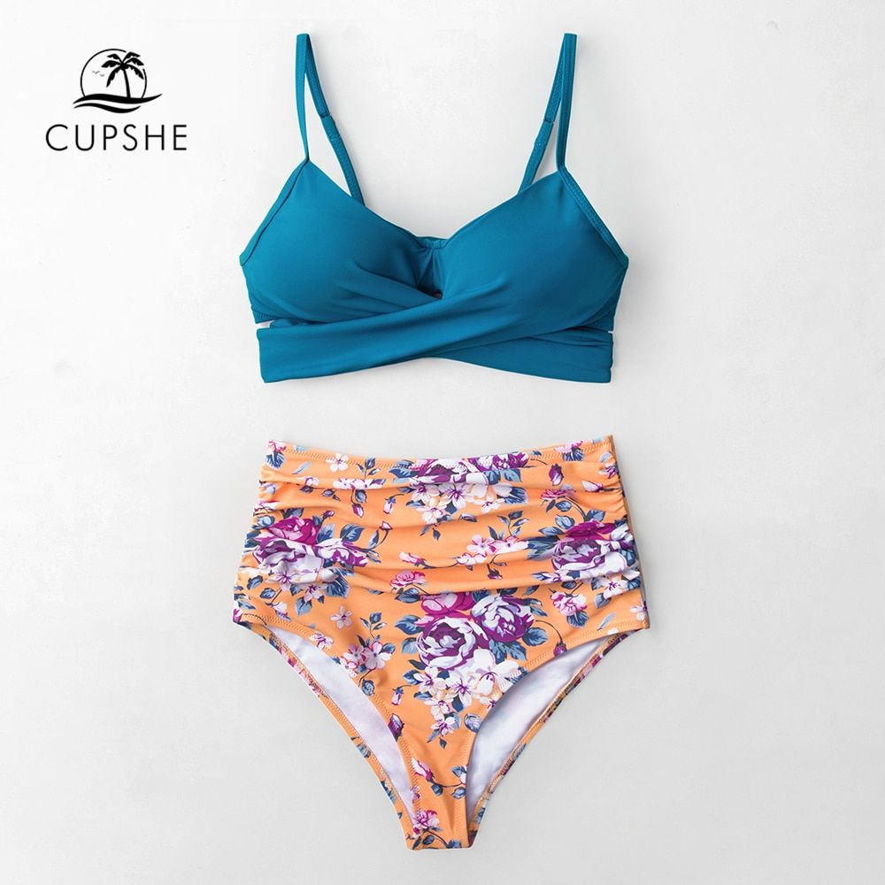 3d6bcf879ed CUPSHE Blue Wrap And Floral High-waisted Bikini Sets Women Sexy Push Up Two  Pieces Swimsuits 2019 Girl Beach Bathing Suits