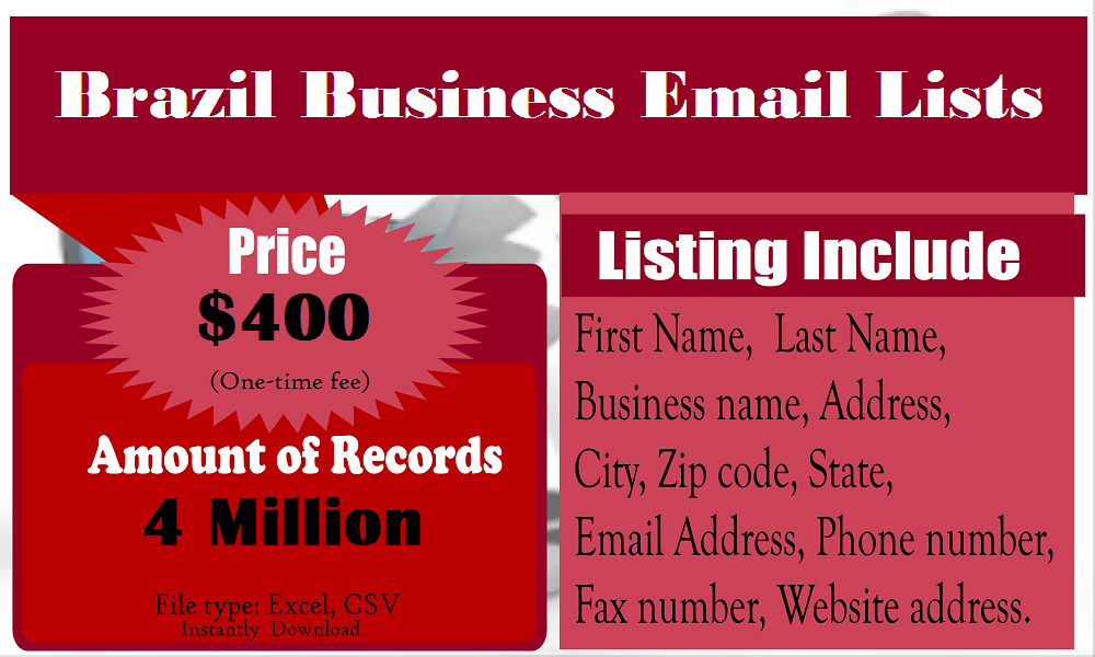 Brazil Business Email Lists | Business Email Lists | Email marketing