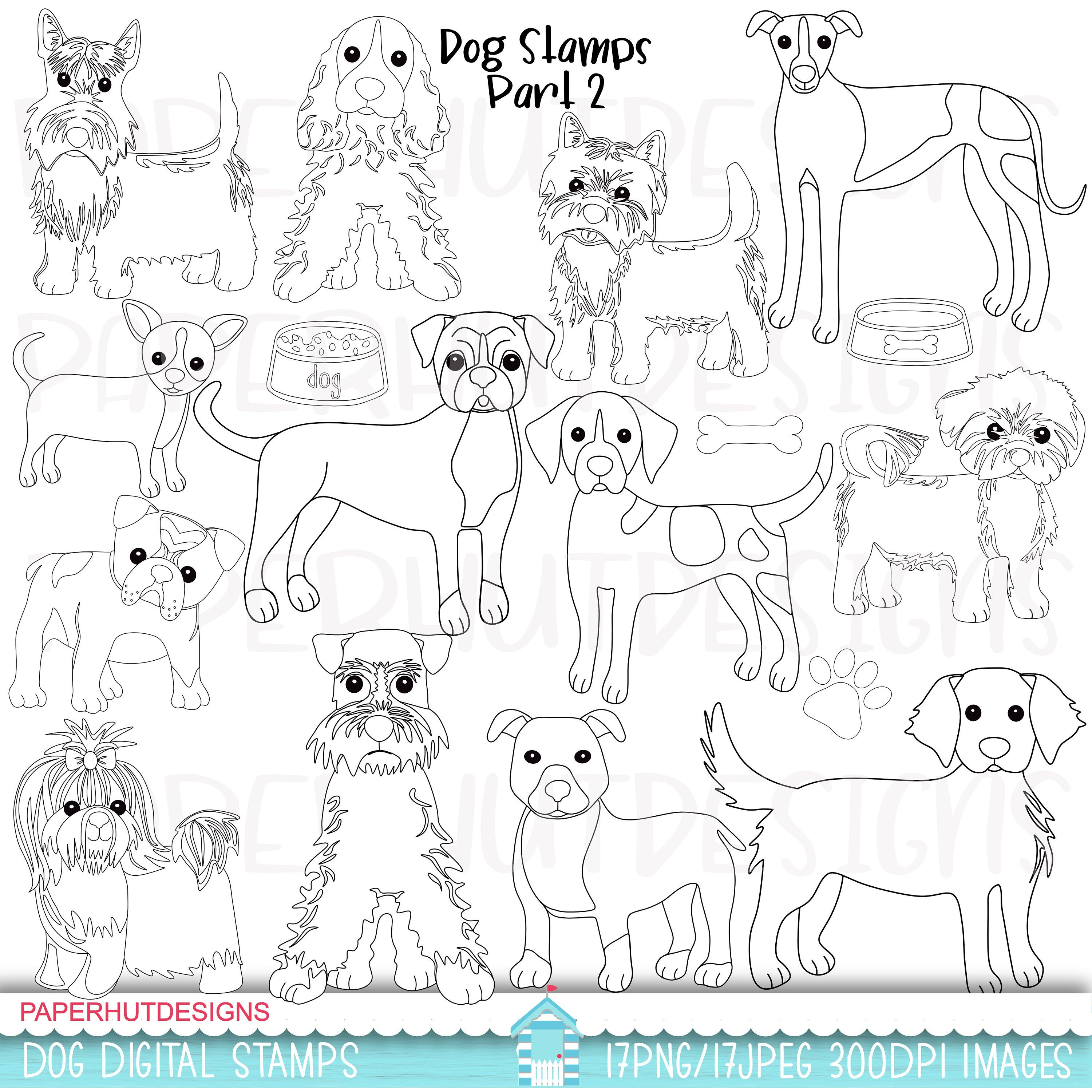Dogs Digital Stamps Dogs Black And White Stamps Dog Clipart Clip Art Coloring Page Puppy Dog Clipart Digital Stamp Digital Stamps Coloring Pages Animal Clipart [ 3000 x 3000 Pixel ]