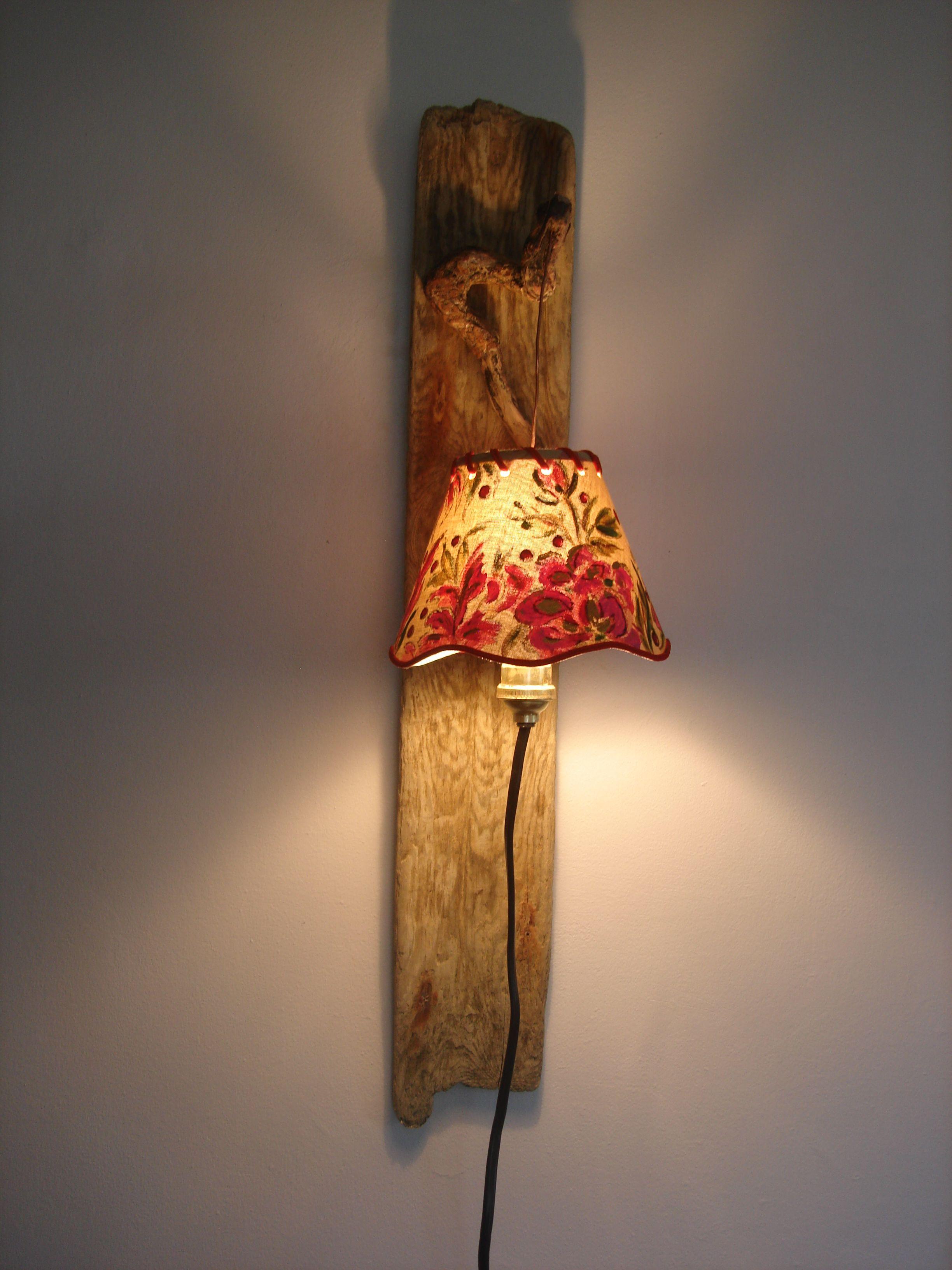 applique bois flotté abat jour peint se branche directement  une