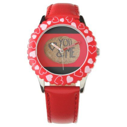 YOUu0026ME Custom Bezel With Red Hearts Watch   Valentines Day Gifts Gift Idea  Diy Customize Special