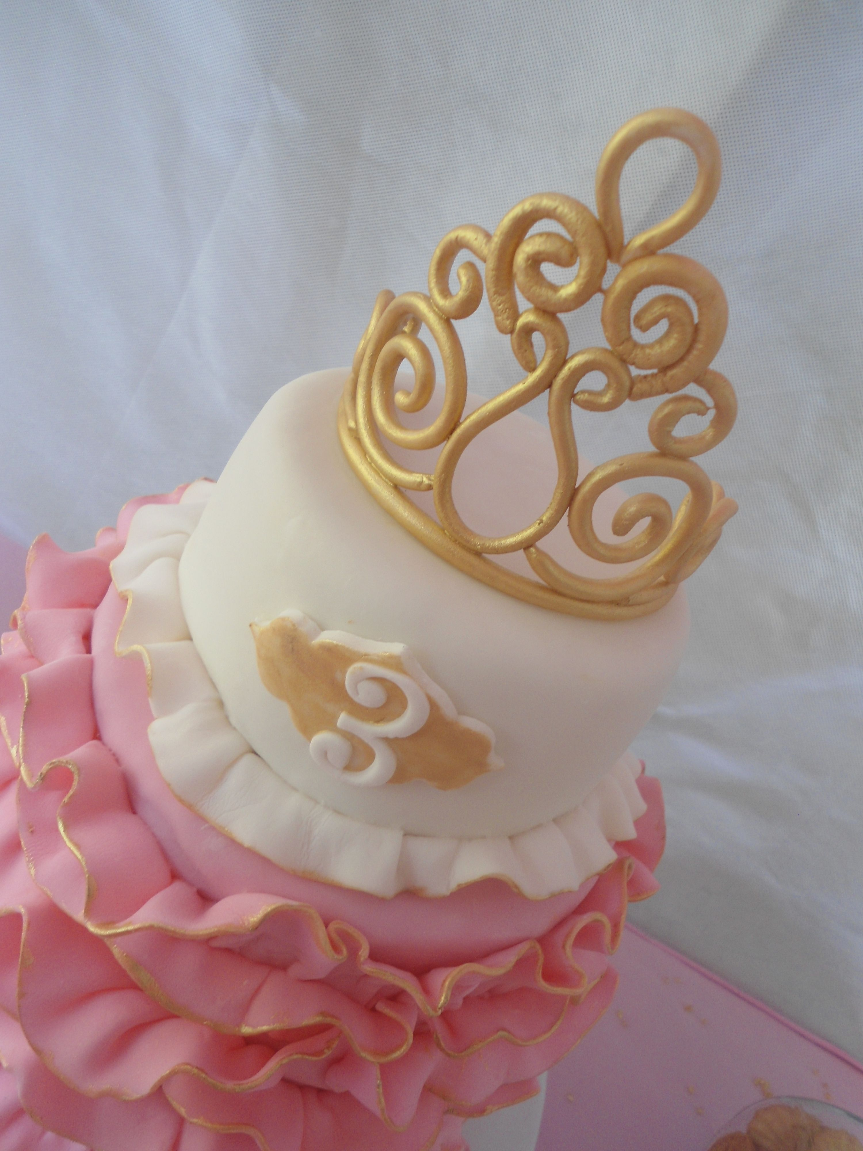 Princess Tiara Cake Gold And Pink