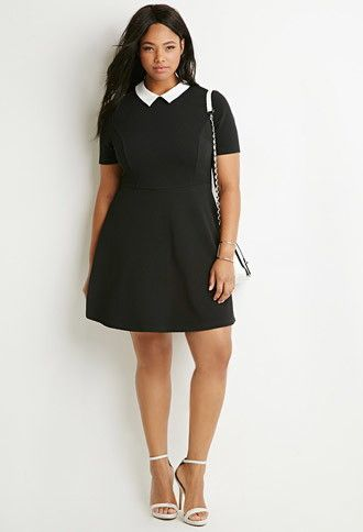 Plus Size Contrast Collar Fit & Flare Dress | Forever 21 PLUS ...