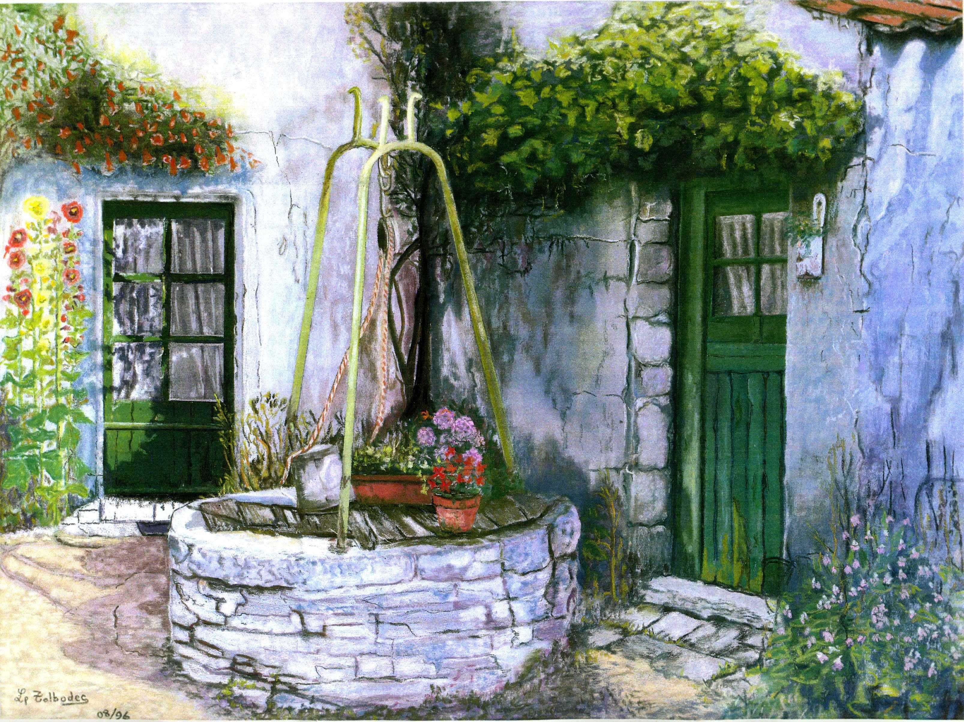 Puits Et Treille Sur Cour Ile De Re Pastel 1996 Peinture