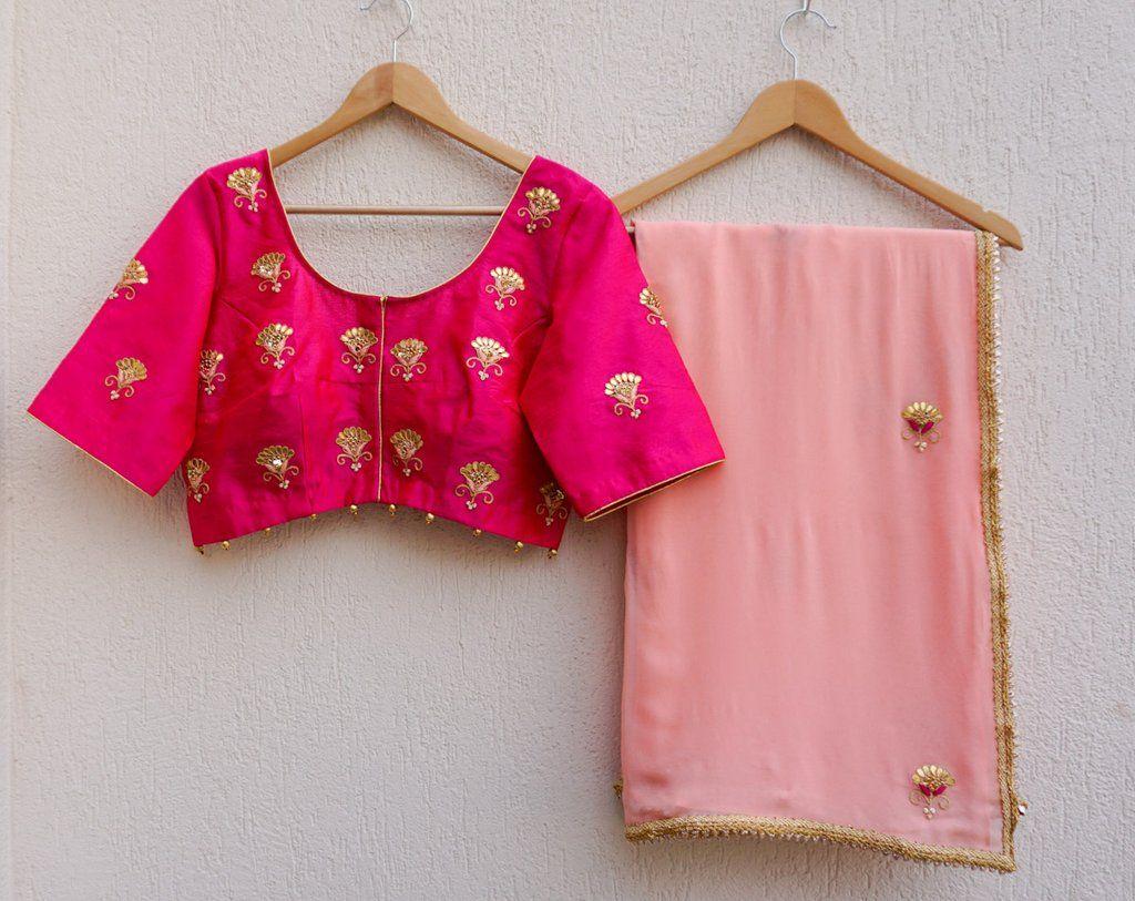 04a37068f2c474 Peach Gota Patti Saree with Fuschia Blouse by LABEL KANUPRIYA | www. labelkanupriya.com | WhatsApp 9694496961