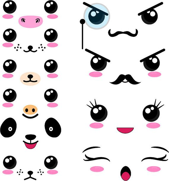 40 Png Files Kawaii Faces Set 2 Digital Clip Art Graphics Personal Commercial Use 021 In 2021 Kawaii Faces Digital Clip Art Graphics Cute Art