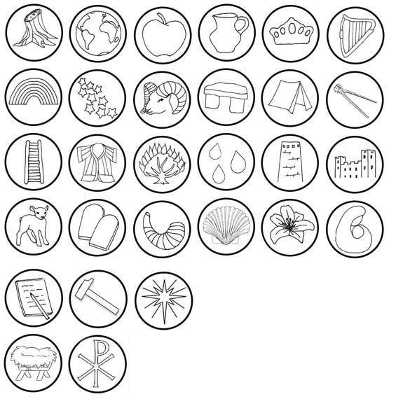 Color Your Own Religious Christmas Ornaments: Jesse Tree Symbols