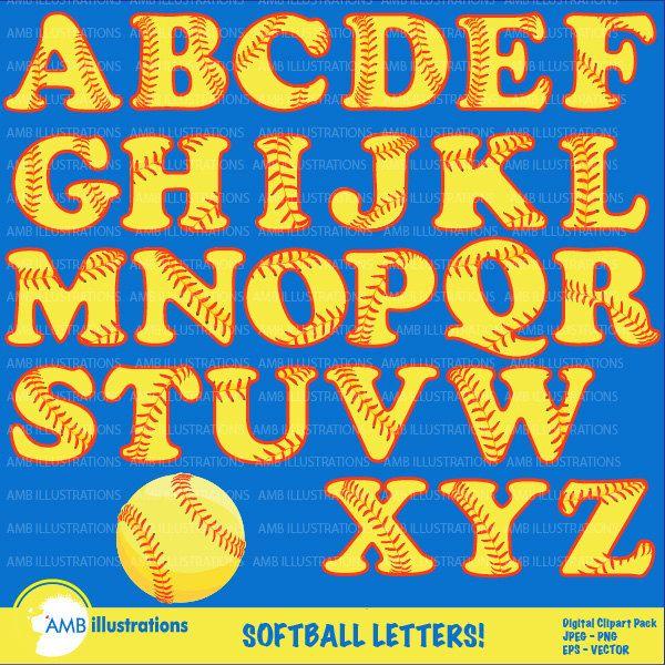 Softball Letters Clipart, Sports Clipart, Softball