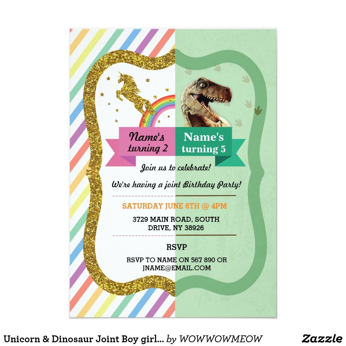 Unicorn Dinosaur Joint Boy Girl Birthday Invites Happy