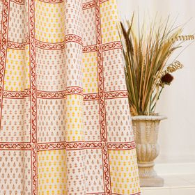 Classic Beige And Red Shower Curtain Fabric Designer Luxury Hand Block Printed Indian From Attiser
