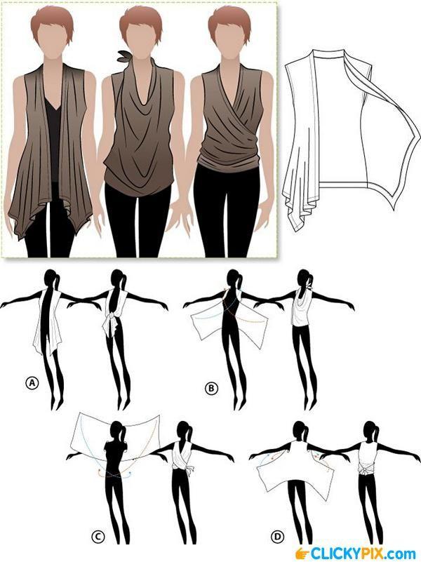3 Ways To Wear A Cascading Open Vest   Trenza, Camisas y Costura