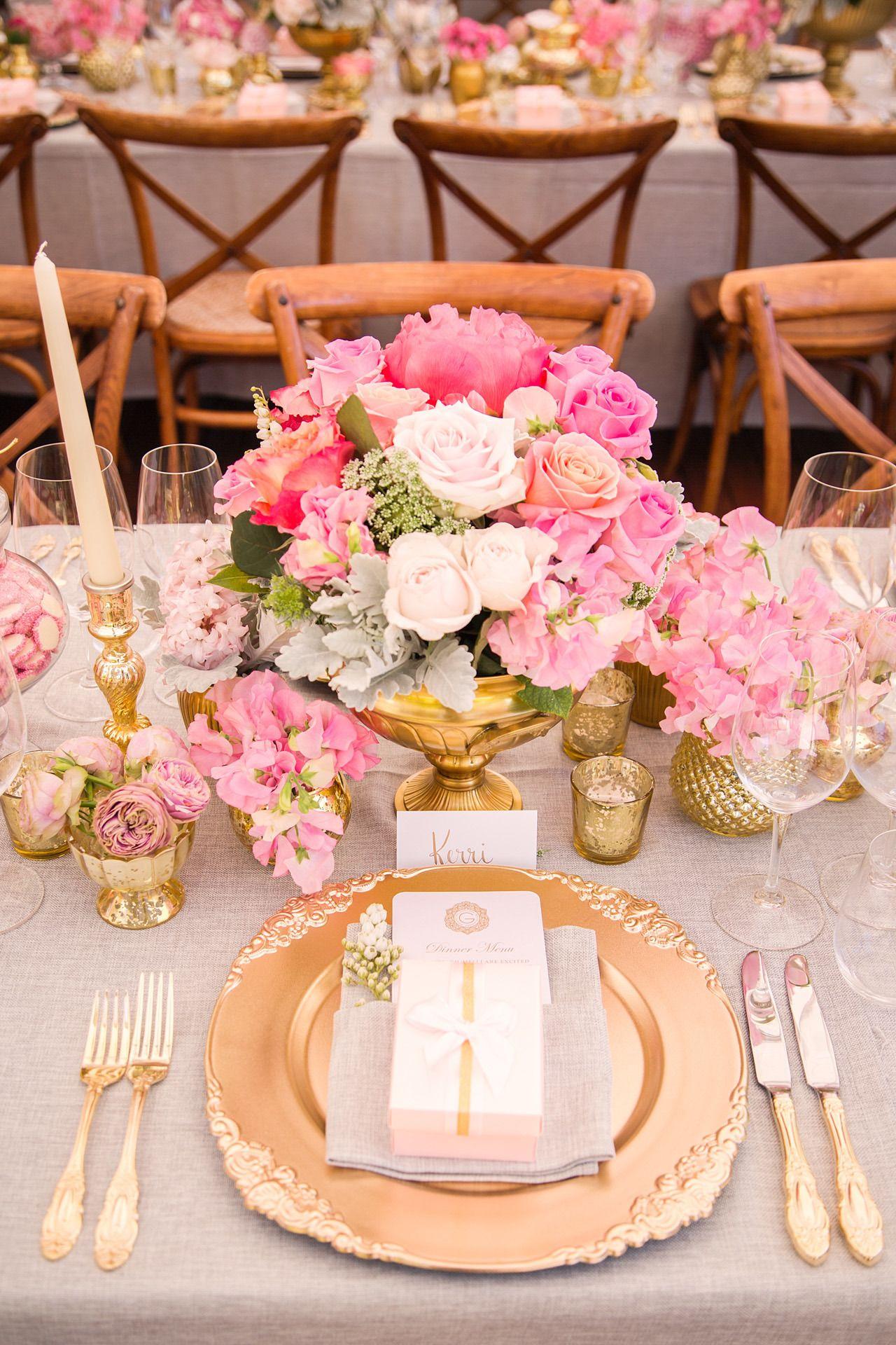 Wedding decorations on tables  Glamorous Pink u Ivory Country Wedding  Photography studios Studio