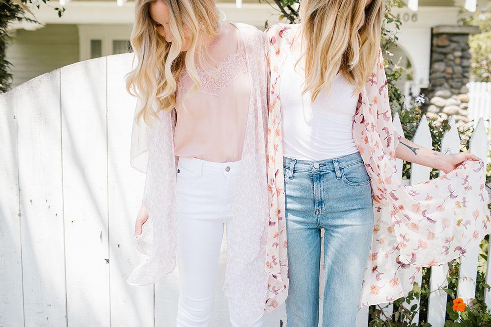 fc04681daa42d4 Women s LC Lauren Conrad Semi-Sheer Floral Bell Sleeve Kimono ...