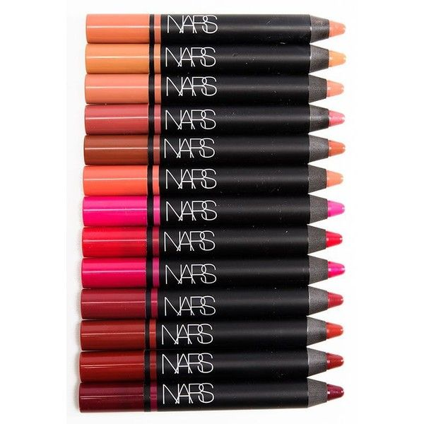 Sneak Peek NARS Satin Lip Pencils Photos Swatches ❤ liked on Polyvore featuring beauty products, makeup, lip makeup, lip pencils i nars cosmetics