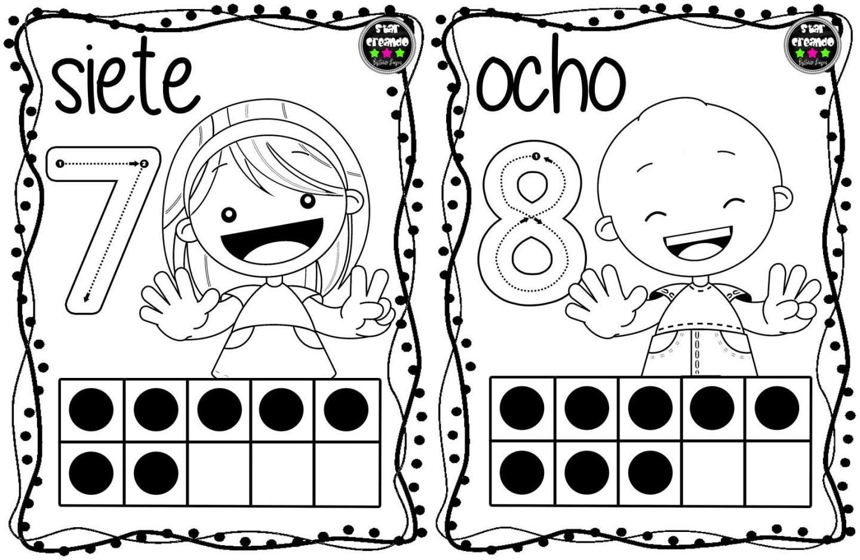 Tarjetas Para Colorear Y Repasar Los Números Del 1 Al 10