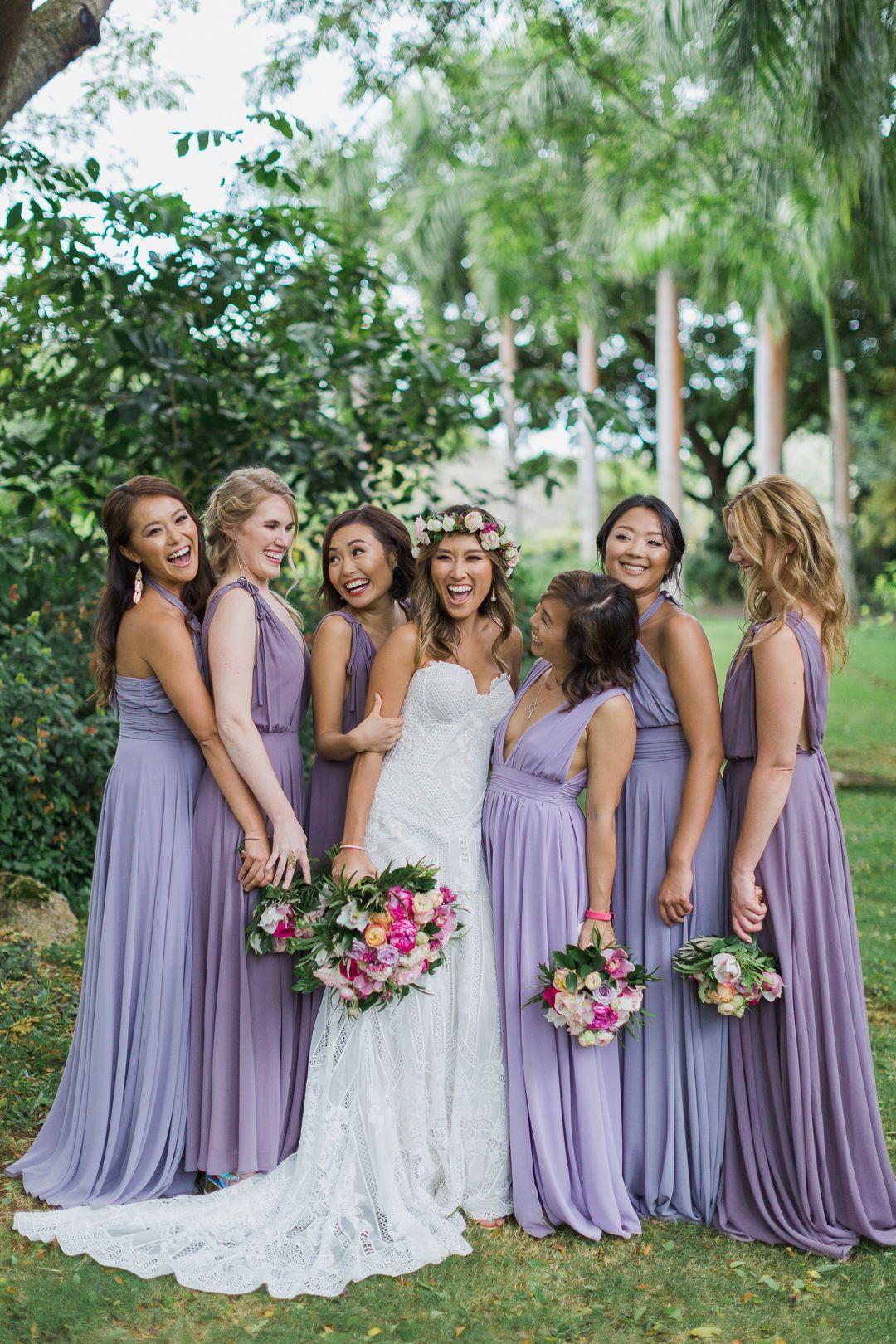 Purple Adorned Bridesmaids At Na Aina Kai Botanical Gardens Kauai Purple Wedding Dress Bridesmaid Garden Wedding Bridesmaids Light Purple Bridesmaid Dresses [ 1620 x 1080 Pixel ]
