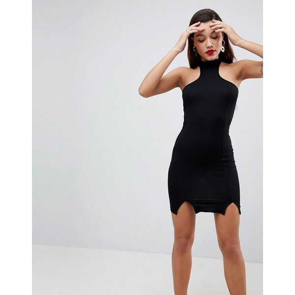 ASOS Choker Neck Mini Bodycon Dress with Splits ($23) ❤ liked on ...
