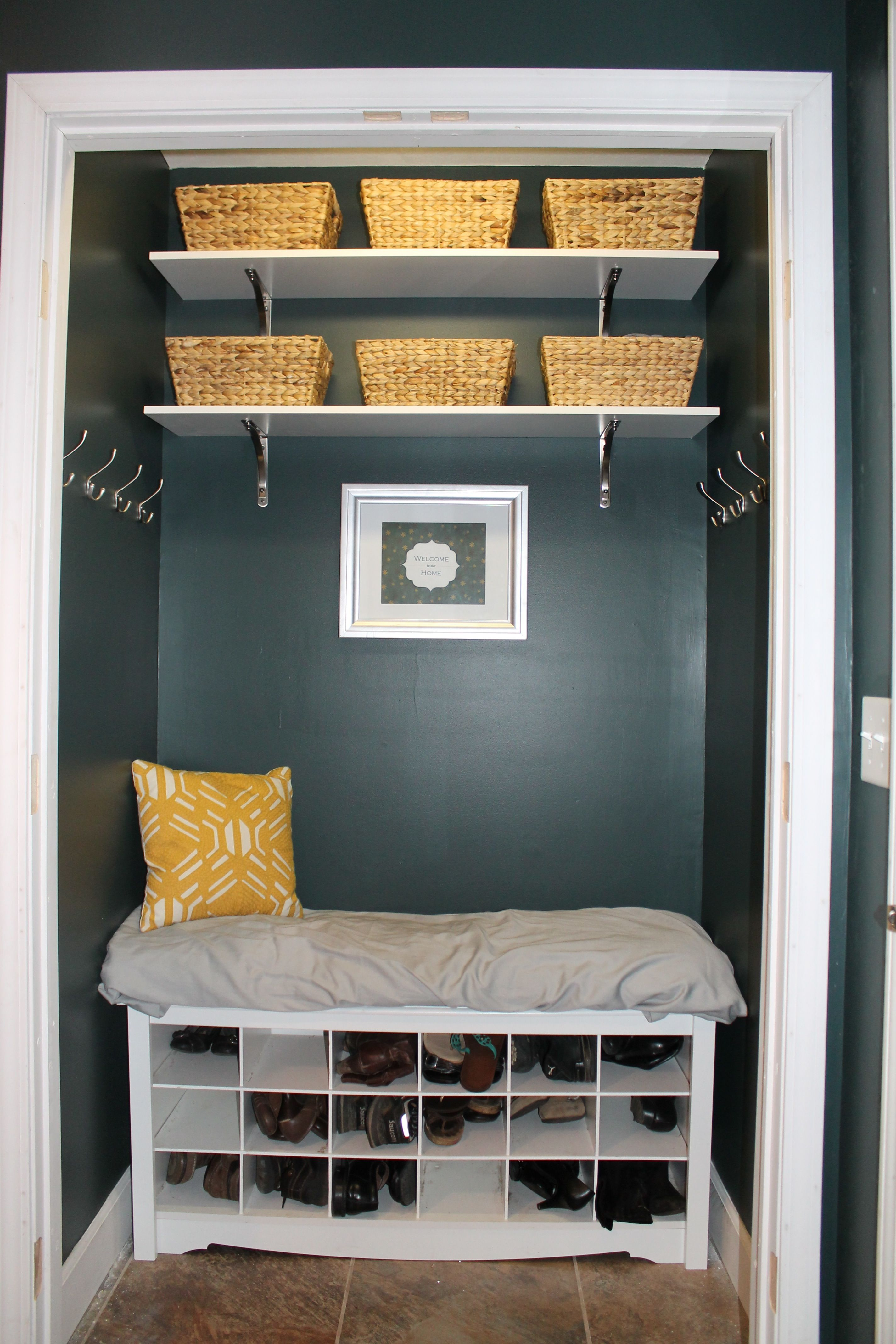 Turn Foyer Into Mudroom : Coat closet turned into mudroom nook perfect for small