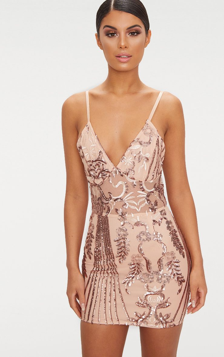 5f0c44bbbe4f Rose Gold Sheer Strappy Panel Sequin Bodycon Dress in 2019