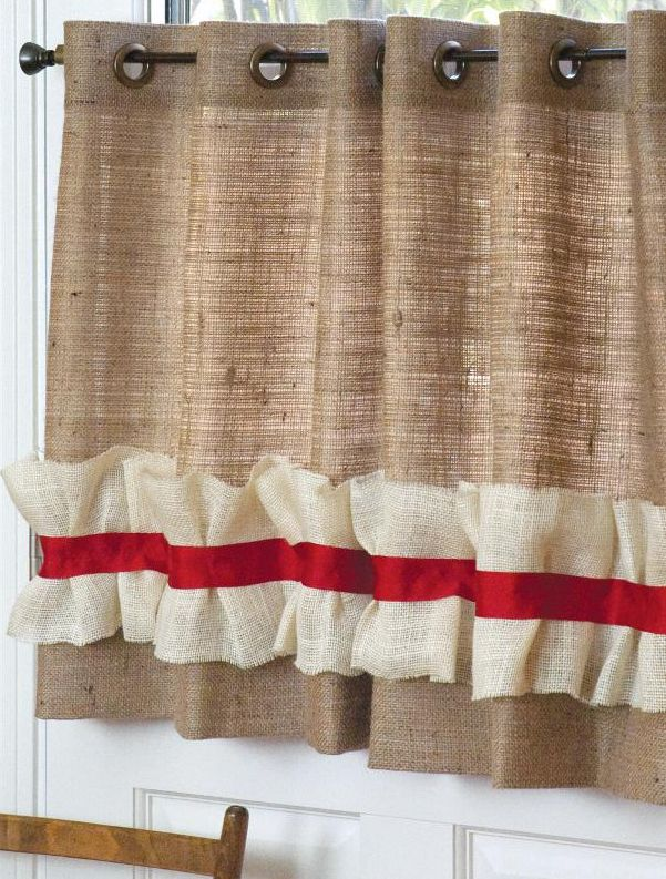Red Rustic Burlap Curtains | ... Curtains Curtains May Seem Like A Big  Project