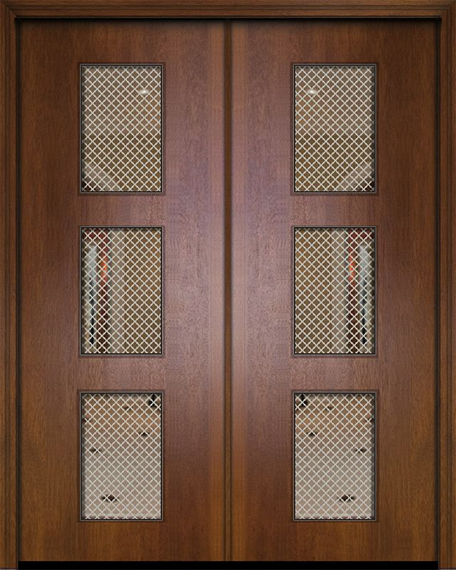 42 X 96 Double Newport Mahogany Contemporary Door W Metal Grid Contemporary Doors Modern Door Metal Grid