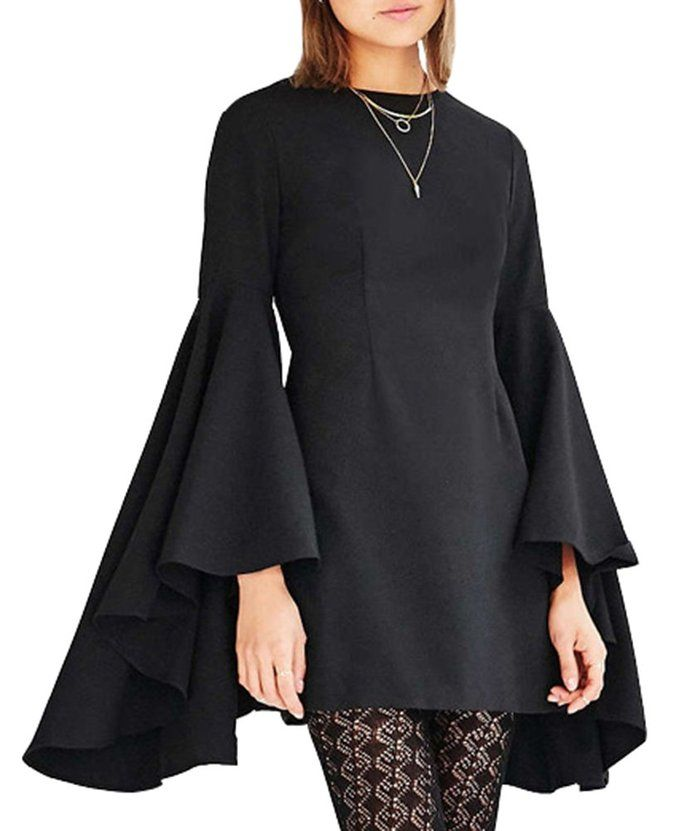 Diffyou Women's OL Bell Sleeve A Line Solid Chiffon Short Dress Black X-Large